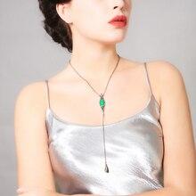Kristall Grün Geometrische Waterdrop Lange Anhänger Halskette Schmuck aliexpress Indien Einfache Vintage Halskette Collier Femme