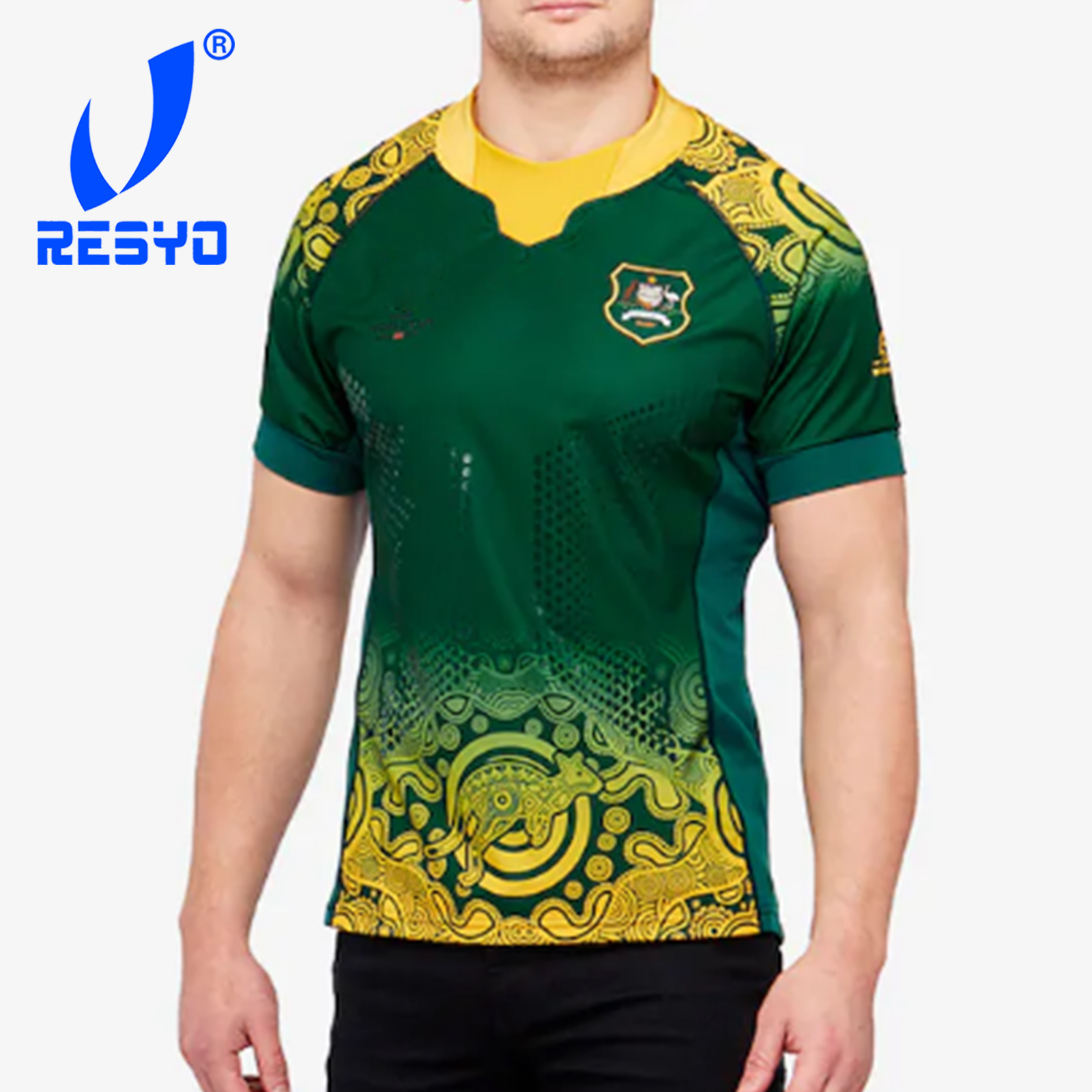 RESYO For Australia RWC19 Alternate Replica Shirt-Wallabies Green  Rugby Sport Jersey Size:S-5XL Free Shipping