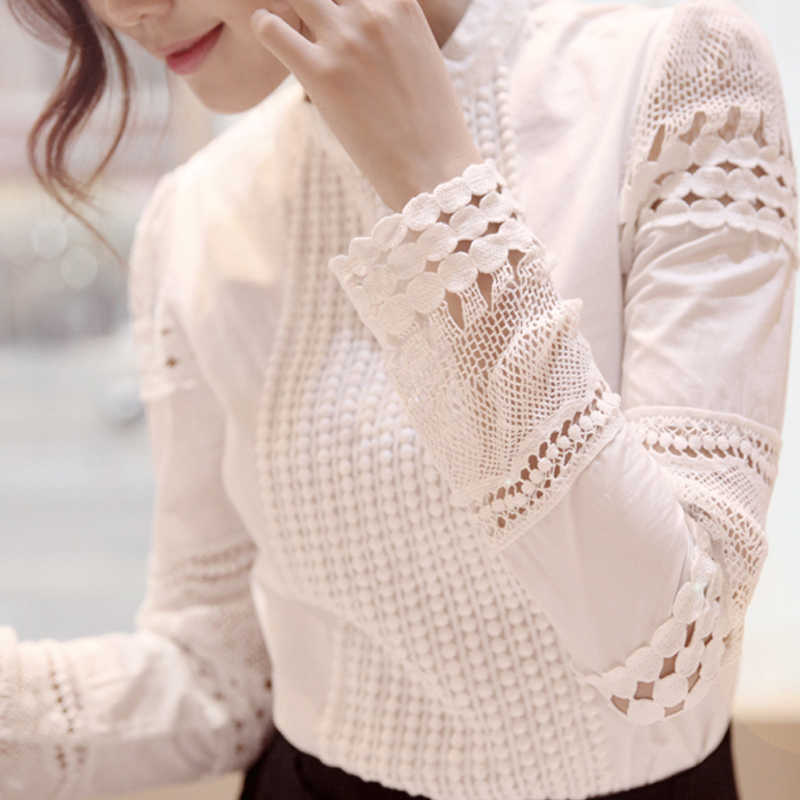 新ファッション 2019 女性のトップスやブラウススリム長袖白ブラウスシャツレース編みアウト中空プラスサイズの女性服 5XL