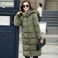 Para mujer abrigos y chaquetas de invierno 2017 invierno medio-largo parka clothing sobre las rodillas de las mujeres acolchada chaqueta con capucha de algodón escudo c1696