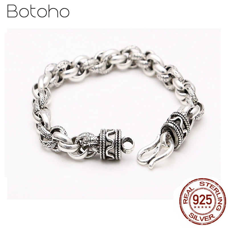 100% 925 Sterling Silver Chain Bracelet Thickness 8mm Classic Vintage Link Chain S925 Thai Silver Bracelets for Men Fine Jewelry100% 925 Sterling Silver Chain Bracelet Thickness 8mm Classic Vintage Link Chain S925 Thai Silver Bracelets for Men Fine Jewelry
