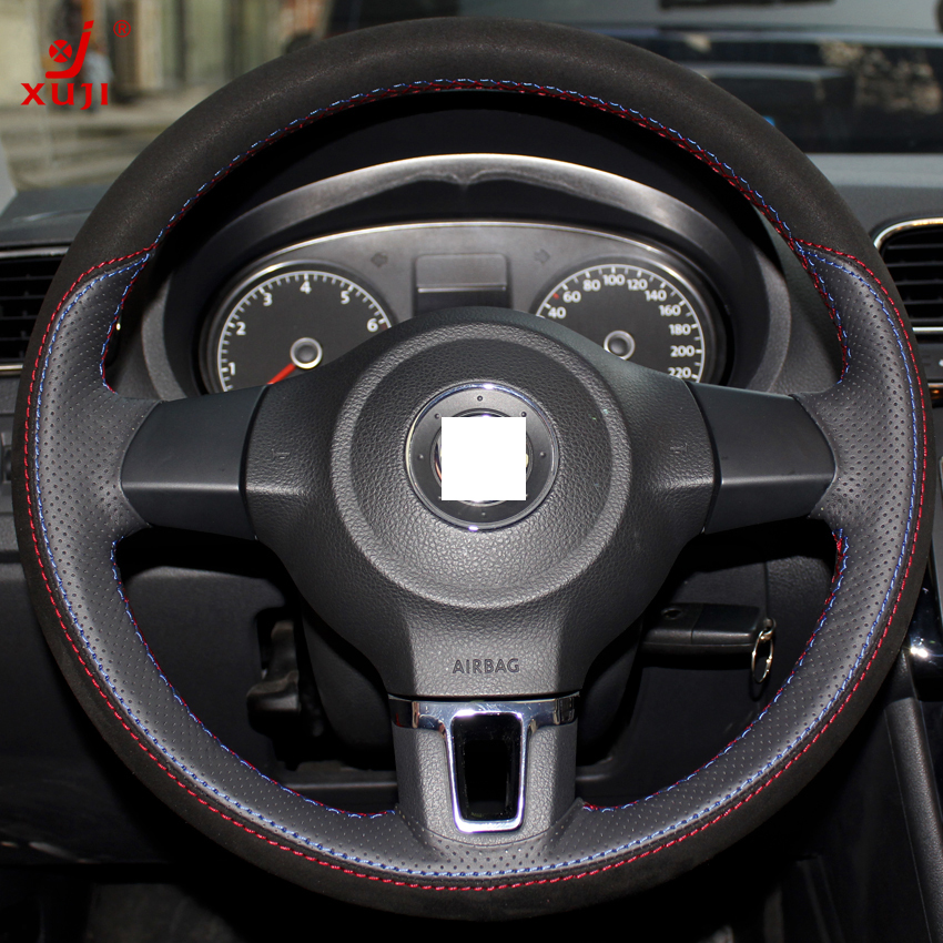 Price Match App >> XuJi Black Red Genuine Leather Suede Steering Wheel Cover for Volkswagen Golf 6 Mk6 VW Polo ...