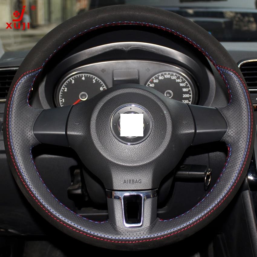 Xuji Black Red Genuine Leather Suede Steering Wheel Cover