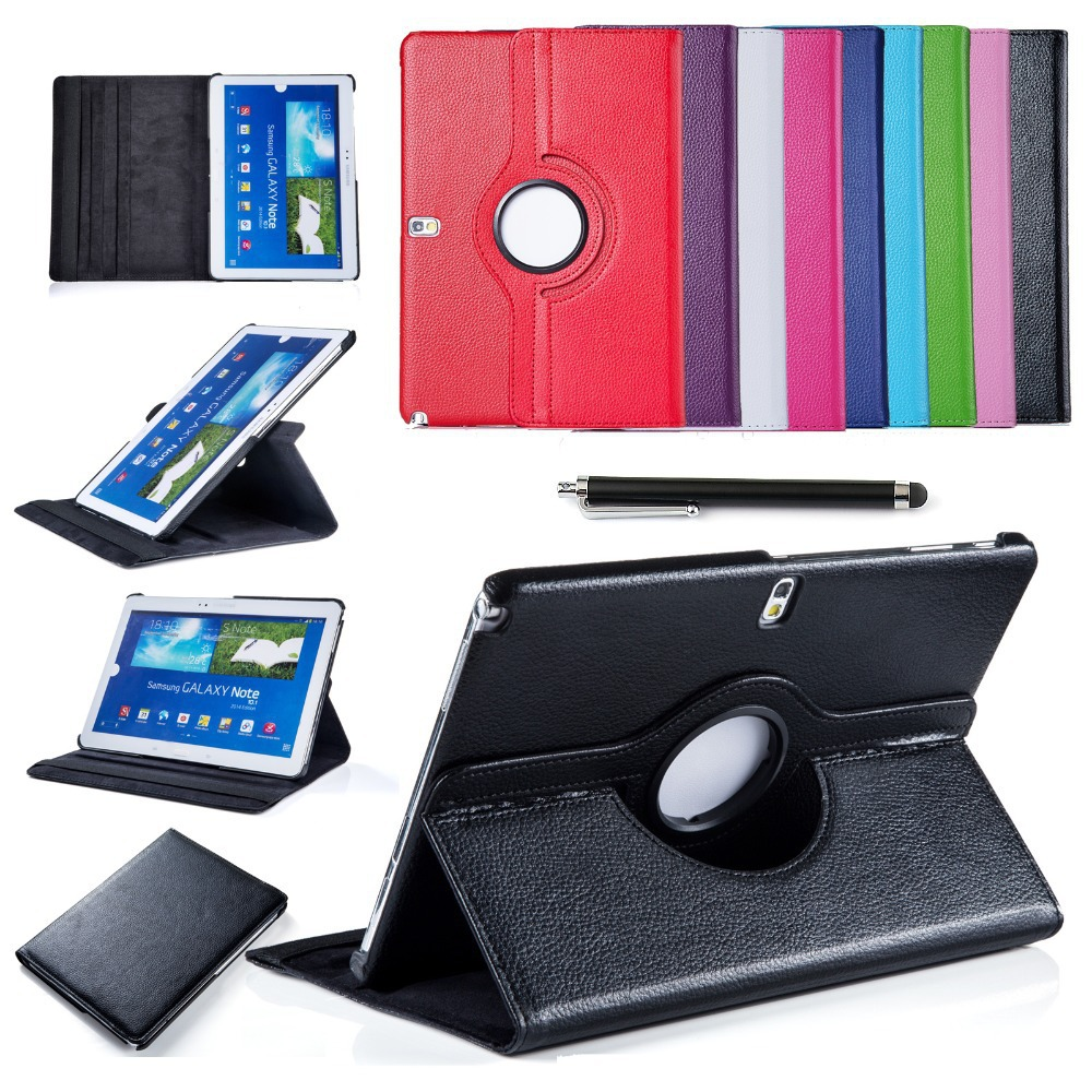 For Samsung Galaxy Note(2014 Edition) 10.1 P600 Tab Pro T520 Tablet PU Leather Case Cover Rotating w/Screen Protector+Stylus Pen