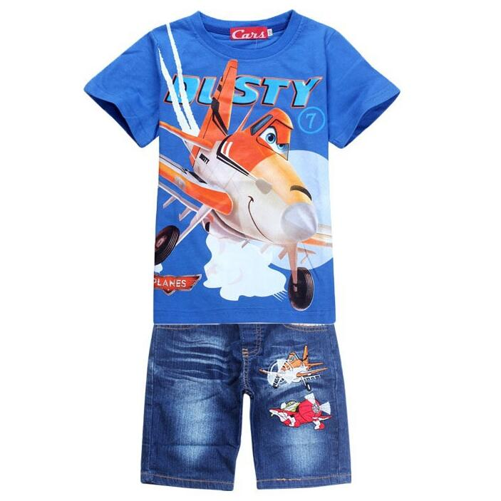 New Boys Cartoon Plane Clothing Sets Kids Summer Cotton Short Shirt + Jeans  2 Piece Suit Children Set