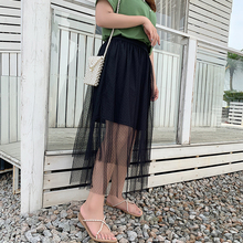 2019 new fashion Korean womens plus-size skirt shows slim high waist mesh yarn super fairy 2046