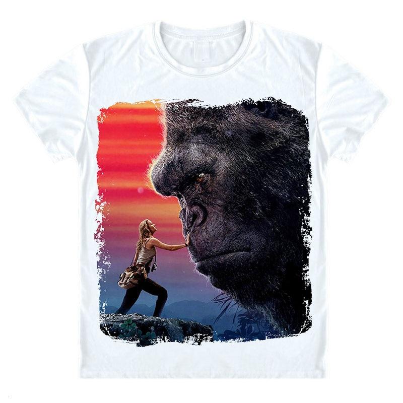 Кинг Конг остров черепа футболка том Хиддлстон Бри Ларсон гориллы футболка новый фильм дизайн пост короткая футболка унисекс летняя рубашк...