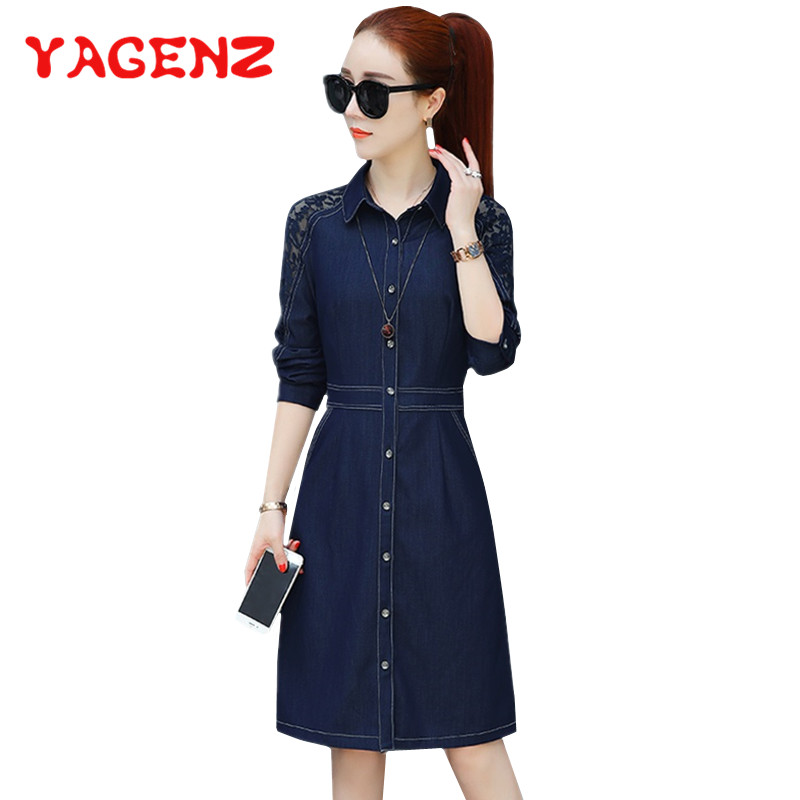 YAGENZ printemps été robe femmes vêtements Denim robe Vestido décontracté élégant dentelle robe simple boutonnage Jeans robes 295
