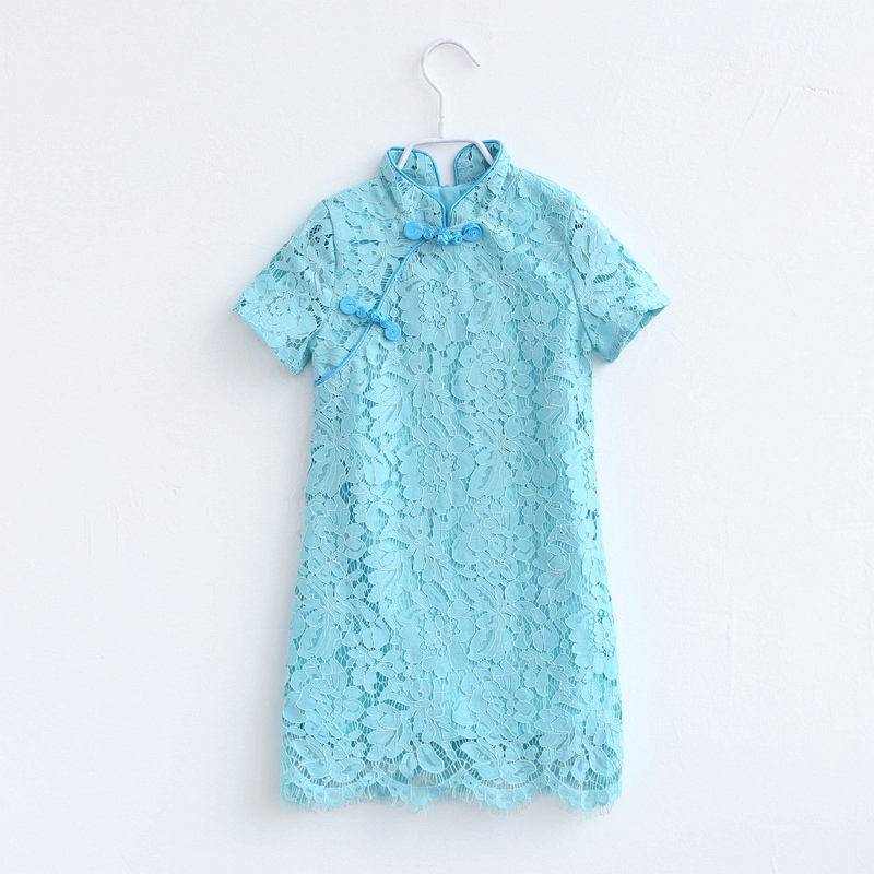 Brand family matching outfits girls Chinese party dress mother daughter Improved cheongsam mom and baby girls summer lace dressBrand family matching outfits girls Chinese party dress mother daughter Improved cheongsam mom and baby girls summer lace dress