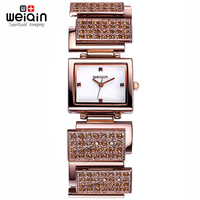 WEIQIN Luxury Brand Watches Women Fashion Rhinestone Bracelet Watch Ladies Analog Quartz Watch New Relojes 2016