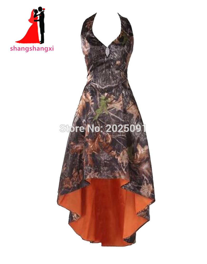 Online get cheap camo bridesmaid dresses aliexpress alibaba real picture fashion camouflage bridesmaid dresses plus size halter off the shoulder high low camo short ombrellifo Images