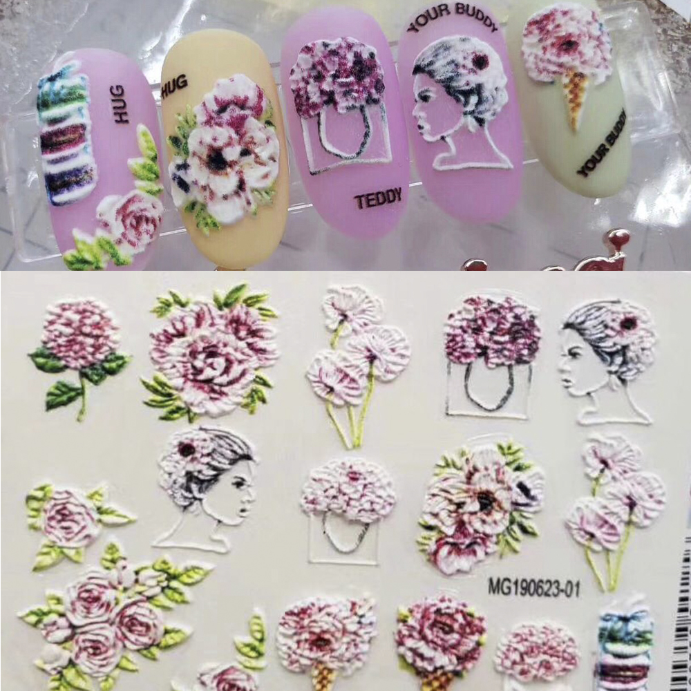 3D Nail Decal Floral Water Transfer Fashion Sticker Nail Wraps 3 D Slide Nail Art