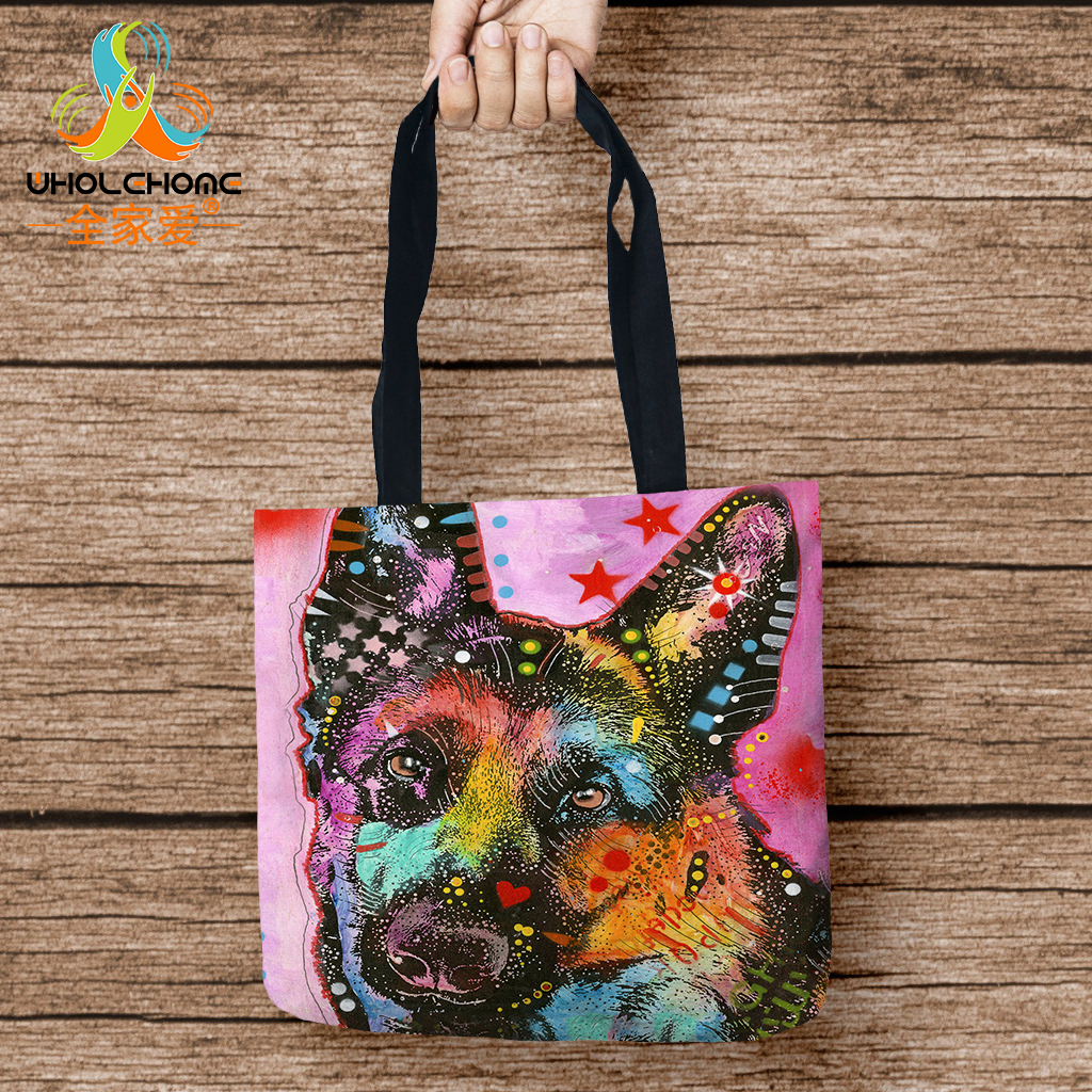 Dog Printed Storage Bags Yorkshire Bull Terrier Shopping Tote Linen Bag For Food Convenience Women Shoulder Handbags 1 PCS/Lot