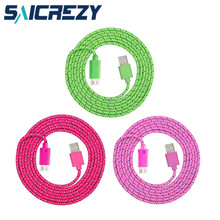 1m/2m/3m colorful Nylon micro USB SYNC Charge Data Cable charger wire for Samsung Galaxy j3 j5 j7 a5 a7 a3 2016,a8 for meizu m5