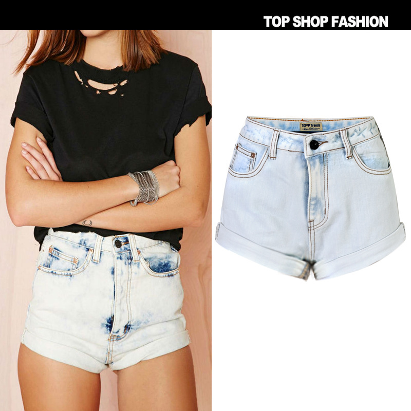 High Waist Jeans Limited 2016 Spring European And American Popular Plus Size Women's New Slim Curling Female High Waist Shorts