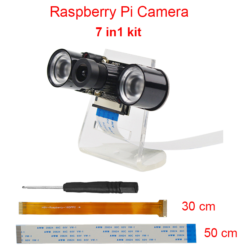 Raspberry Pi 3 Model B+ Camera Kit 5MP Focal Adjustable Night Version Camera+Holder +IR Light +FFC Cable for Raspberry Pi Zero W