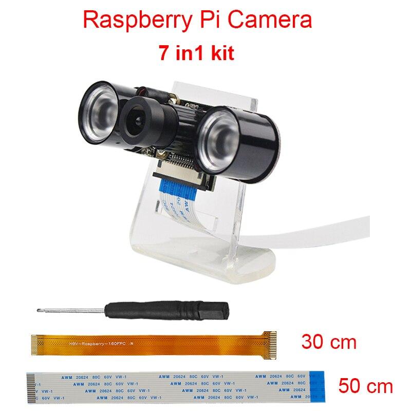 Raspberry Pi 3 Modell B + Kamera Kit 5MP Brenn Einstellbare Nacht Version Kamera + Halter + IR Licht + FFC Kabel für Raspberry Pi Null W