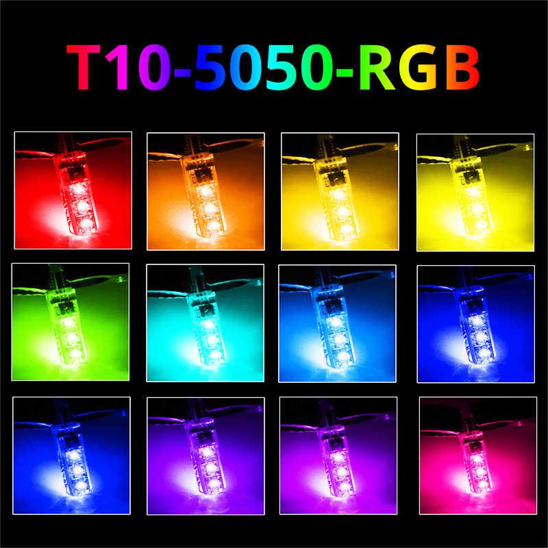 2X T10 W5W Lampu Mobil LED Lampu LED RGB 194 168 501 Lampu Strobo LED Lampu Baca dengan Remote Control putih Merah Amber 12V