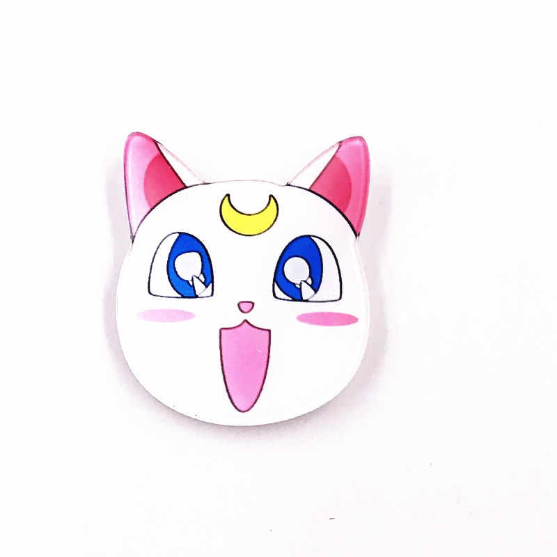 1PCS Sailor Moon Air Es Bulan Luna White Kucing Lucu Lencana Pin Pakaian Dekorasi Ransel Kecil Aksesoris Hadiah Akrilik bros