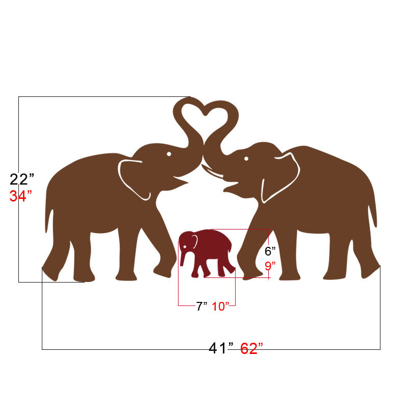 Cute Elephant Hearts Family Wall Decals Baby Nursery Decor Kids Room Vinyl Stickers 22 H X 41 W Graphics Art Stencil In From Home