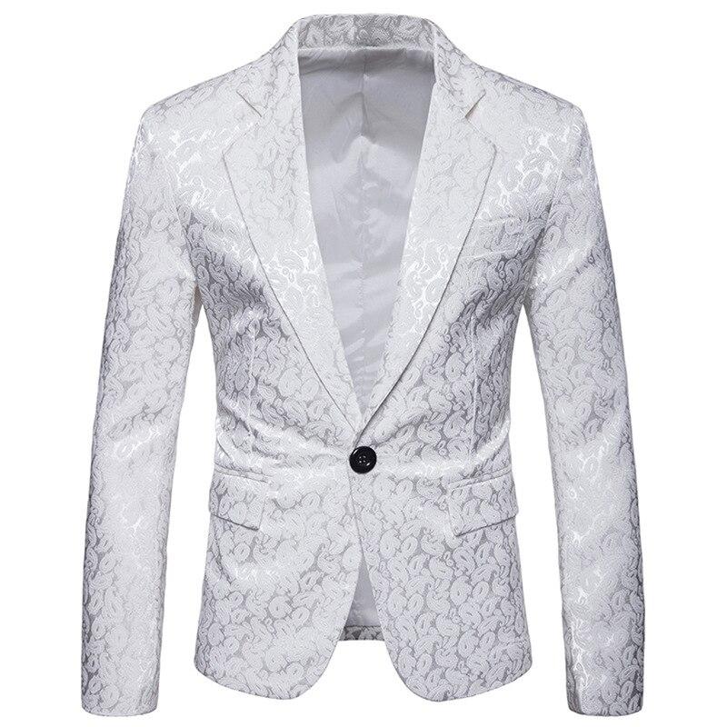 Men's Hipster White Paisley Velvet Suit Blazer Jacket Men