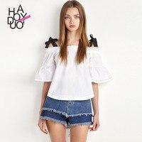 Haoduoyi Summer Western Style Fashion Contrast Color Half Butterfly Sleeve SML XL XXL Slash Neck Woman
