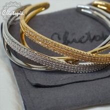 Chictopia Swarovski Crystal Bracelets Bangles for Women Gold&Silver Plated Luxury Elegant