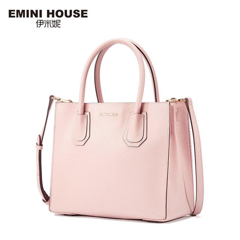 EMINI HOUSE Split Leather Tote Bag Luxury Handbags Women Bags Designer Women Leather Handbags Shoulder Bag Messenger Bags