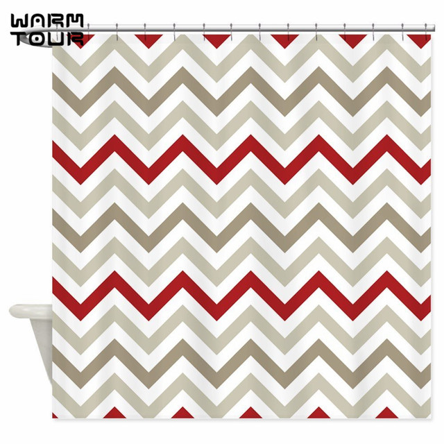 Warm Tour Red Gray And White Chevron Stripes Shower Curtains Decorative Fabric Bathroom Curtain WTC079