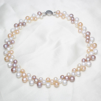 YYW Wedding Bridal Designs Pink White Purple Baroque Natural Freshwater Pearl Necklace Women Jewelry Pearl Choker Necklaces