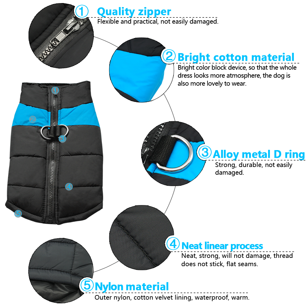 Waterproof Dog Jacket with Zipper for Large Dogs Made with Nylon Material 6