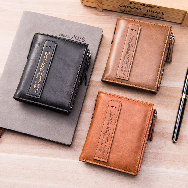 AOEO Men Wallets Short Double Zipper Coin Purse Small Vintage Purse Male Small Bag Slim Money Bag Pochette Mini Wallet For Men aoeo plaid women purse small wallets mini bag soft leather double photo holder zipper coin purses ladies slim wallet female girl