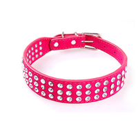 PU Leather Adjustable Pet Dog Collar Rhinestone Neck Lead Dog Necklace Pink Pets Pomeranian Collare Cane Leash For Dogs 70M0122