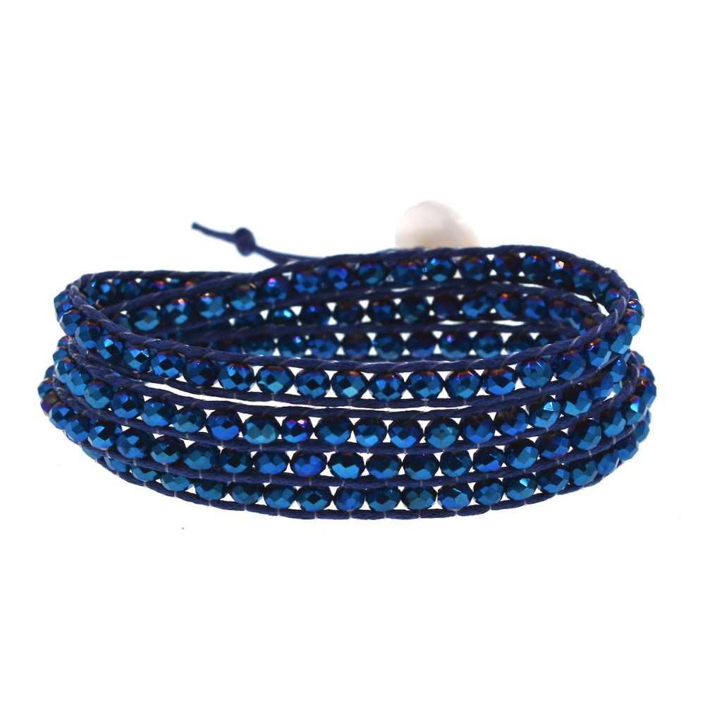 Metal blue Crystal Beaded on Navy Blue cord 4 Wrap Bracelet Fashion Chain Jewelry