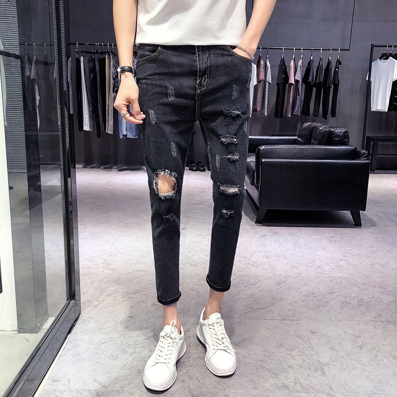 2018 Spring And Summer New Mens Jeans Tight Feet Solid Color Simple Casual Fashion Wild  ...