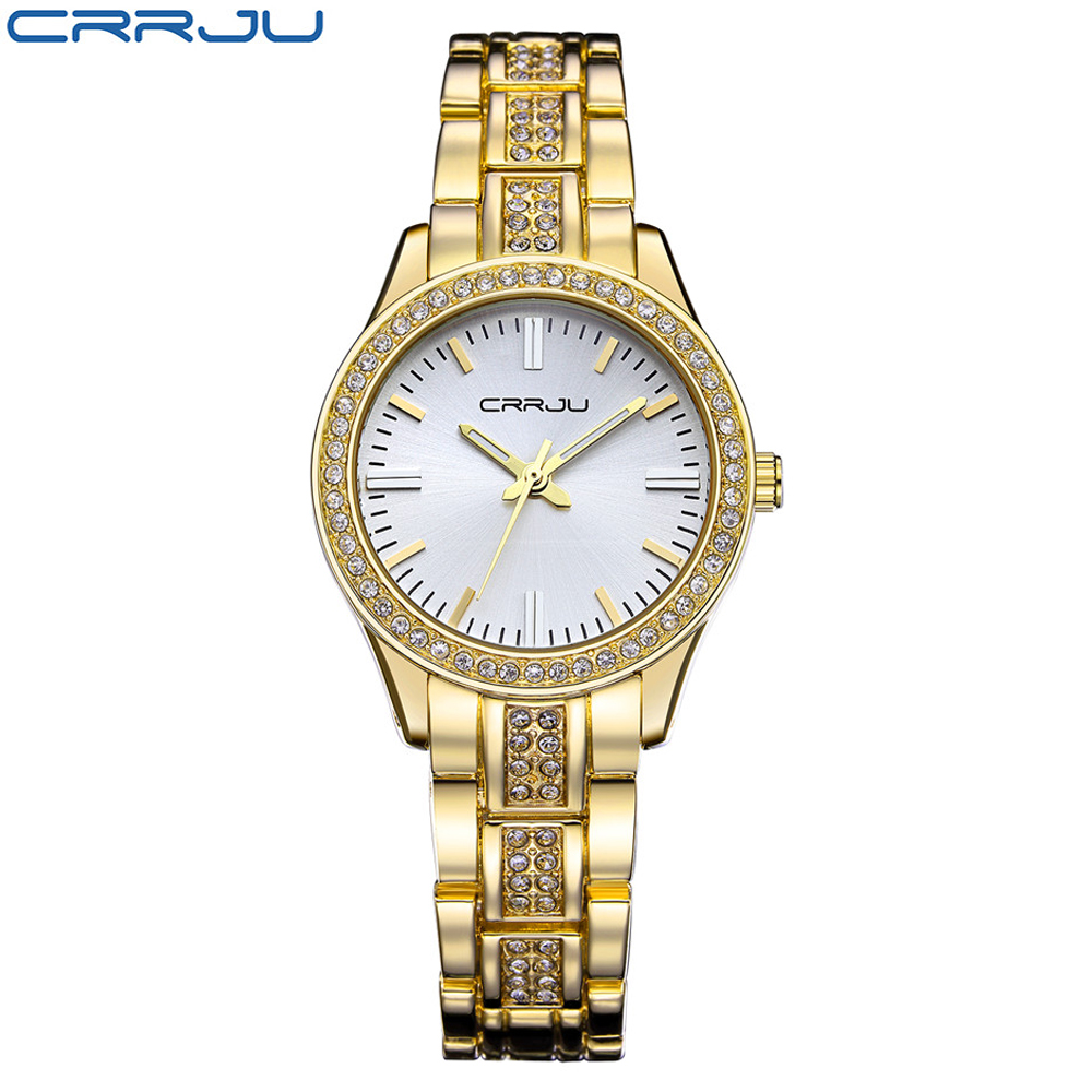 Fashion Brand CRRJU Watches Women Ladies Crystal Diamond Quartz-watch Luxury Rose Gold Wrist Watches For Women Relojes Mujer weiqin luxury gold wrist watch for women rhinestone crystal fashion ladies analog quartz watch reloj mujer clock female relogios