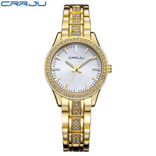 b89c4d3f2574 Moda marca crrju relojes señoras de las mujeres de cristal diamante reloj  de cuarzo de lujo pulsera de oro rosa relojes para las.