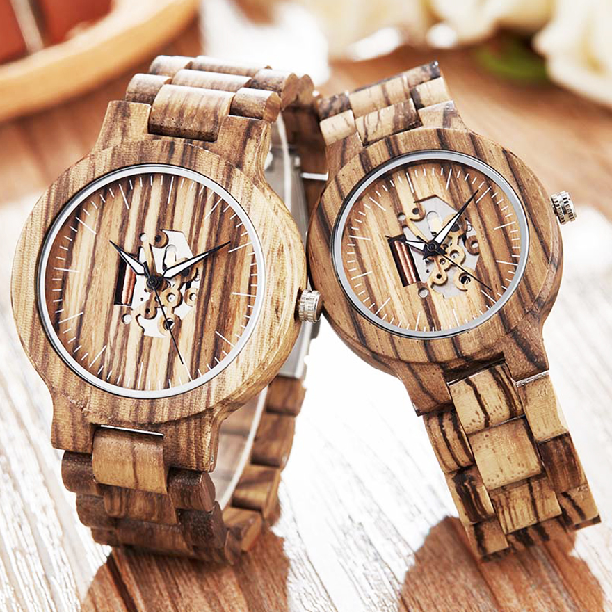 Unique Couple Wood Watch Men Women Wooden Band Luminous Hands Wristwatch Creative Brown Full Walnut Wood Watch Male Lovers Clock(China)