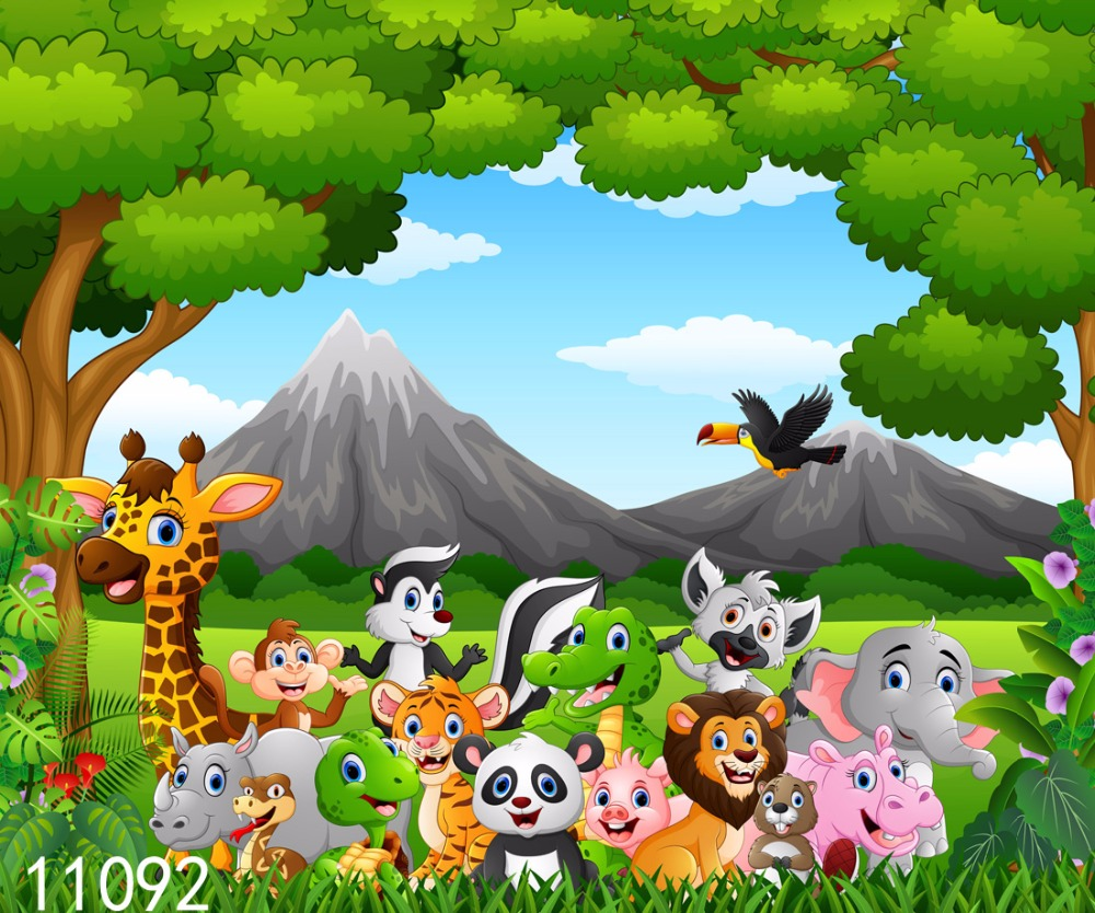 SJOLOON jungle safari birthday party baby photography backdrops customized photography background picture for photo studio props photography backdrops studio photo props photographic background cloth doll accessories for blythe barbie 1 12 1 3 1 4 1 6 bjd
