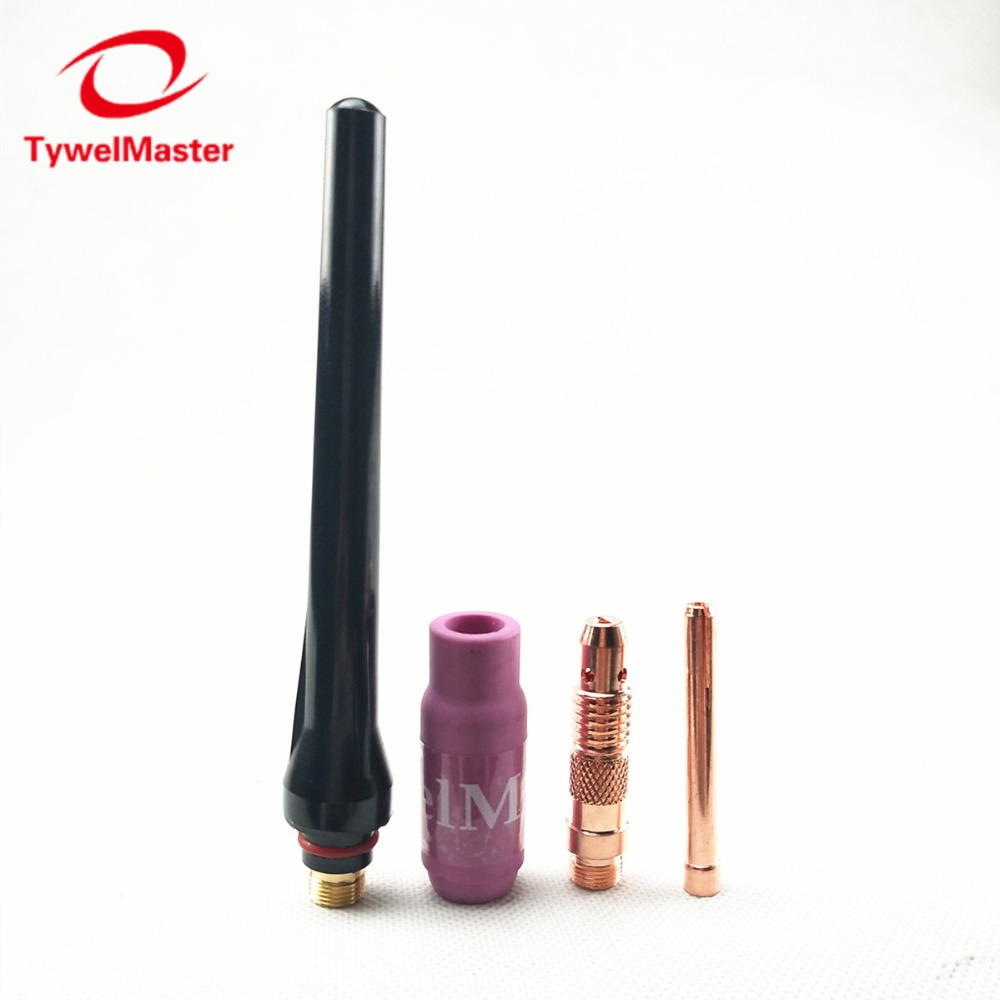 Argon TIG Welding Torch Consumable 4pcs Electrode Collet Body Collet Alumina Nozzle Long Cap WP18 WP17 WP26 TIG Kits