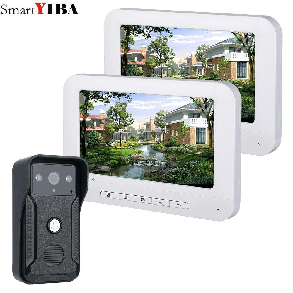 SmartYIBA Video Door Phone Doorbell Wired Video Intercom System 7 inch Color Monitor and HD Camera with Door Release
