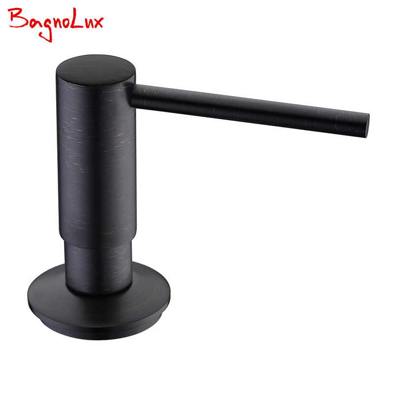 Matt Black Solid Brass Matte Black Kitchen Soap Dispenser Commercial ORB Lotion Dispenser With Abs Pump