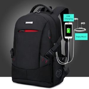 Image 3 - 男性バックパックの学校のバックパック旅行バッグ通学ショルダーバッグ子供のため bagback 黒のラップトップバッグ 15.6