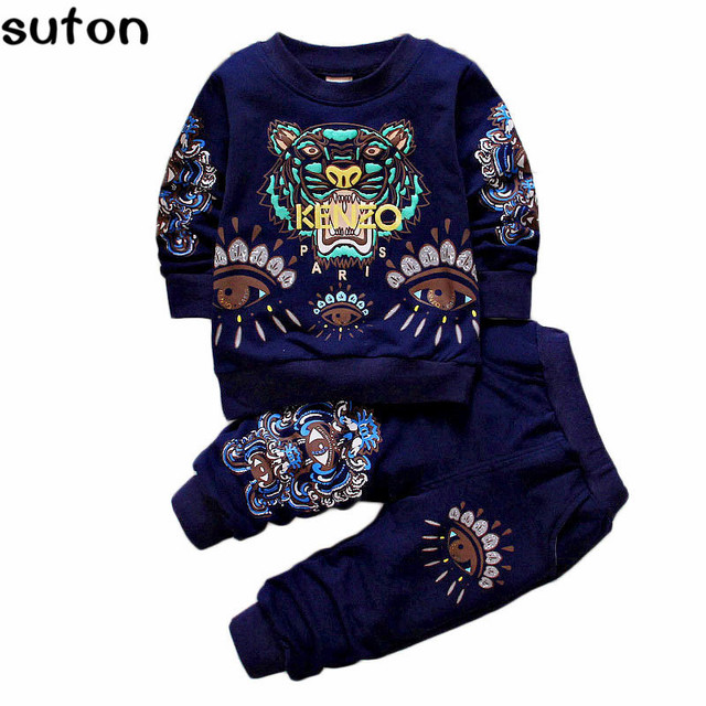 2017 Autumn Baby Boys&Girls Clothes Suit Toddler Cartoon Tiger Printed Tshirt Pants 2pcs Casual Tracksuits Children Clothes 1-4Y