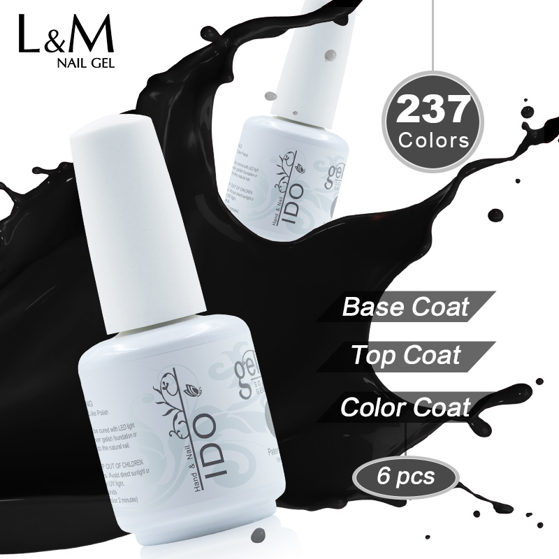 Gelpolish 15ml IDO Nail Polish Set Marcas 6 Pcs Envío gratis (4 colores + 1 Top + 1 Base de base) Soak Off Uv Gel Barniz uñas