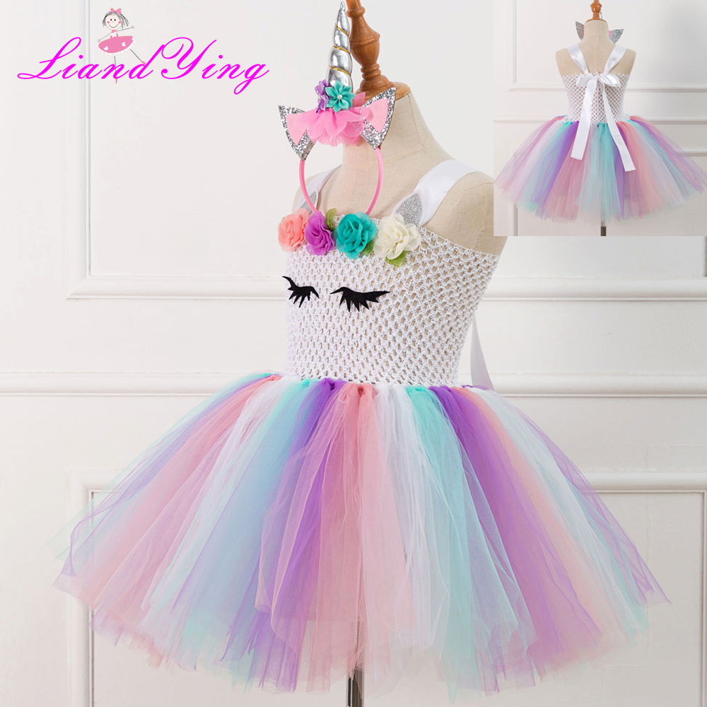 754cfcda75d0 Children Girls Unicorn Dress Rainbow Party Dress Elegant Costume Kids  Wedding Dresses For Girls Vestidos With Headband - aliexpress.com -  imall.com