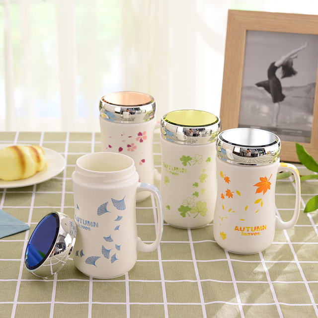 Best Office Matte Ceramic Water Mug Porcelain With Mirror Lid Creative Gift Personalized Clear Printing Coffee