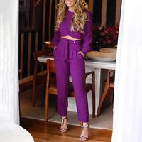 2019 Women Fashion Elegant Casual Pocket Purple Belt Suit Set Workwear Long Sleeve Crop Top & Tie Waist Ruched Pants Sets