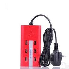 New US/EU/UK Plug 6 USB Charging Ports 5A AC Power Wall Sockets Strip Hub Desktop Standard Home Electrical