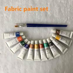 Профессиональный ткани цвета Краски не Toxic12 Цвета 6 мл Цвет комплект текстильный Цвета пигментов БЕСПЛАТНАЯ для щетки